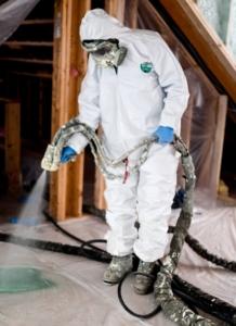 Spray foam technician working