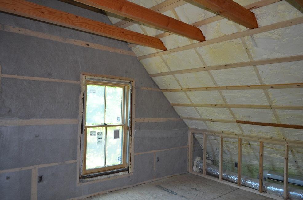 the green cocoon installs foam insulation in attic